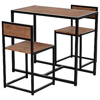 HOMCOM 3 Pcs Table Stool Set Industrial Design w/ Steel Frame MDF Panels Living Room Bar Modern Furniture