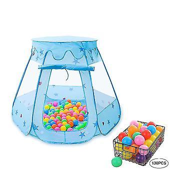 Detský stan na hranie so 130 ks Ocean Ball, skladací herný stan Hexagon Castle pre deti v interiéri a
