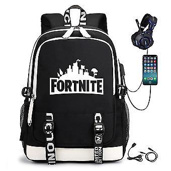 फोर्टनाइट चमकदार स्कूल बैग पुरुषों और महिलाओं के बैग स्कूल बैग