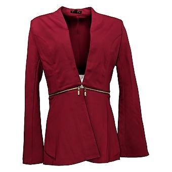 IMAN Global Chic Women's Convertible Bell-Sleeve Ponte Blazer Red 711210