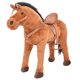Standing Toy Horse Plush Brown Stuffed Animal Cuddly Kid's Riding Toy