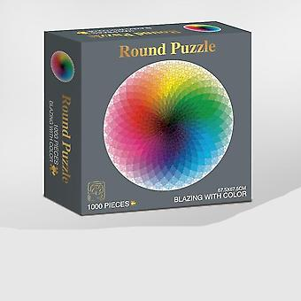 Puzzle fotografico geometrico arcobaleno rotondo