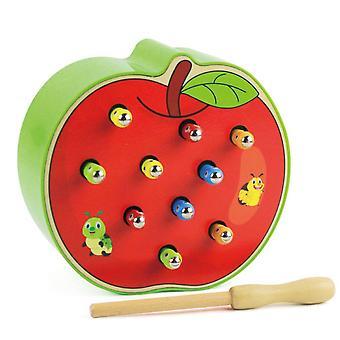 قبض دودة اللعب المغناطيسية للأطفال التعلم المبكر التعليمي لعبة خشبية لعبة لغز لعبة ملونة للأطفال