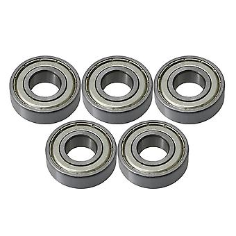 Pulleys, blocks sheaves 5pcs single row metal deep groove ball bearing 6202z iron cover 15mm id