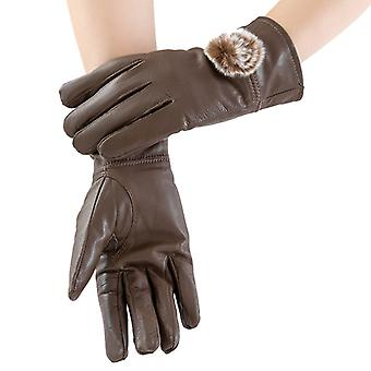 Mimigo Lady Brown Genuine Sheepskin Leather Gloves For Women, Winter Warm Cashmere Lined Driving Motorcycle Gloves With Real Rabbit Pompom