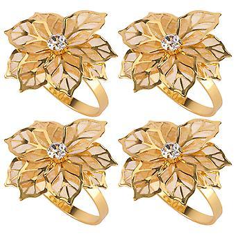 12個装飾合金ナプキンリングフラワーナプキンホルダーウェディングパーティーディナーテーブル装飾(黄金)