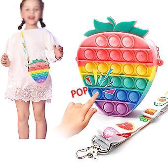 Pop It Shoulder Bag Fidget Toys Cute Crossbody Bag Push Pop Bubble Simple Dimple Sensory Toys Coin Purse With Zipper With Strap For Women Girls Kids
