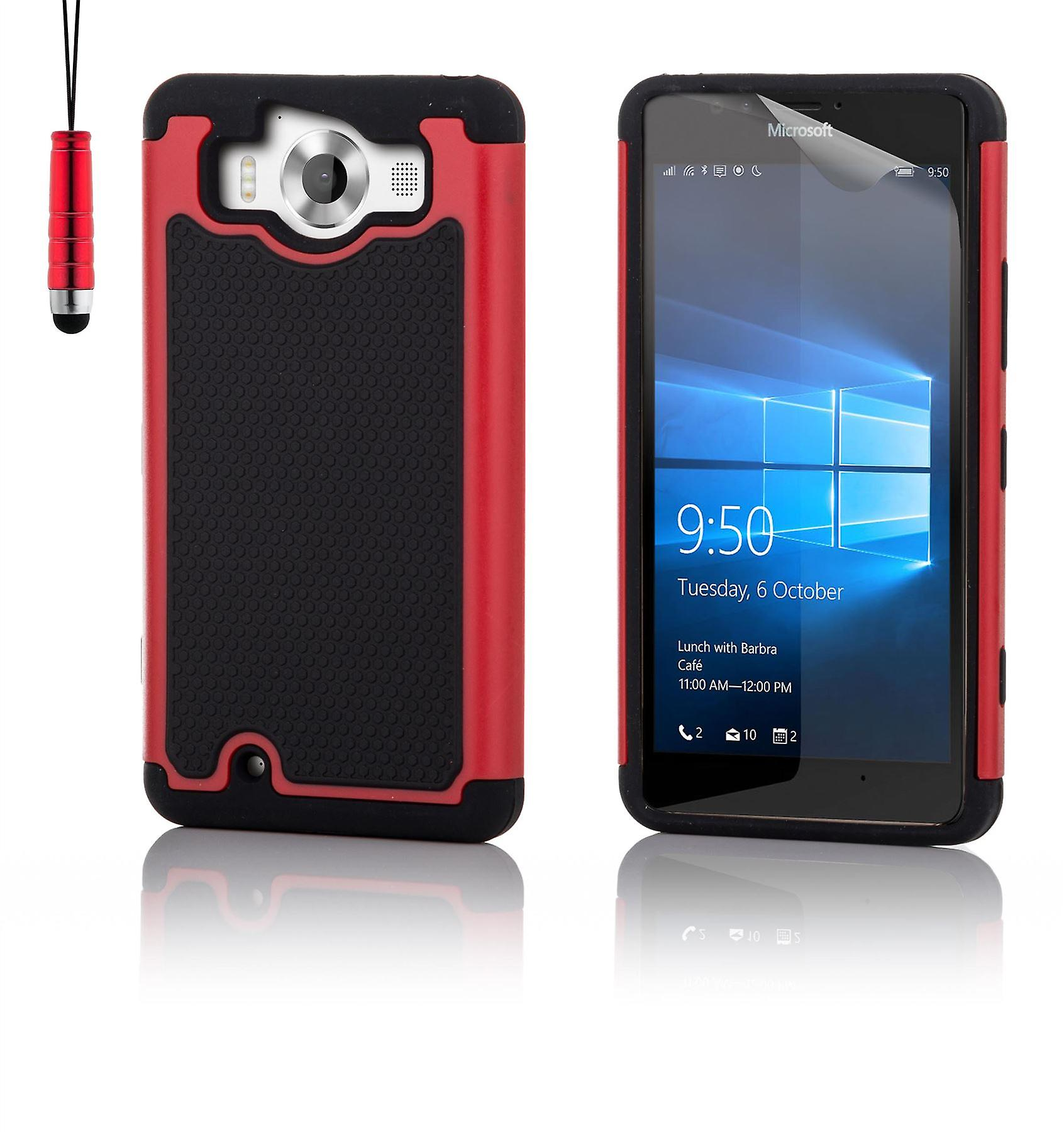 Shock proof case + stylus for Microsoft Lumia 950XL - Red