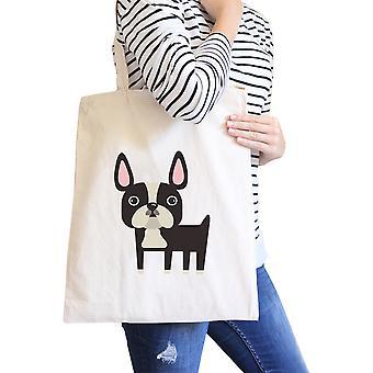 Fransk Bulldog Natural Canvas väskor gåvor för franska Bull hundägare