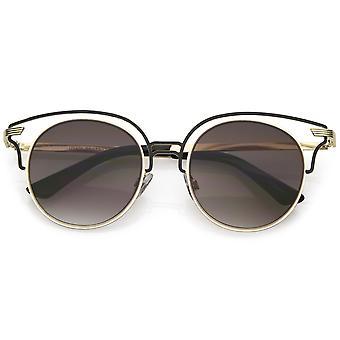 Unique Metal Cut Out Cat Eye Sunglasses Round Neutral Color Flat Lens 50mm
