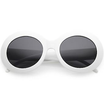 Large Oversize Chunky Oval Sunglasses Wide Arms Neutral Colored Lens 55mm