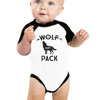 狼包婴儿棒球体衣黑色拉格兰礼物给新父母