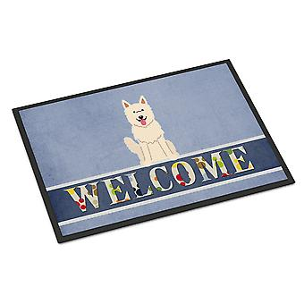 Biały Owczarek niemiecki Welcome Mat wewnątrz lub na zewnątrz 18 x 27 cm
