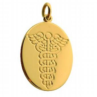 18ct Gold 25x20mm oval tıbbi alarm Disk
