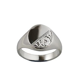 Silver 16x14mm hand engraved solid oval Signet Ring Size Y