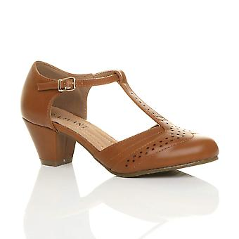 Ajvani womens mitten av låga block klack t-bar brogue komfort gummi enda domstolen skor sandaler