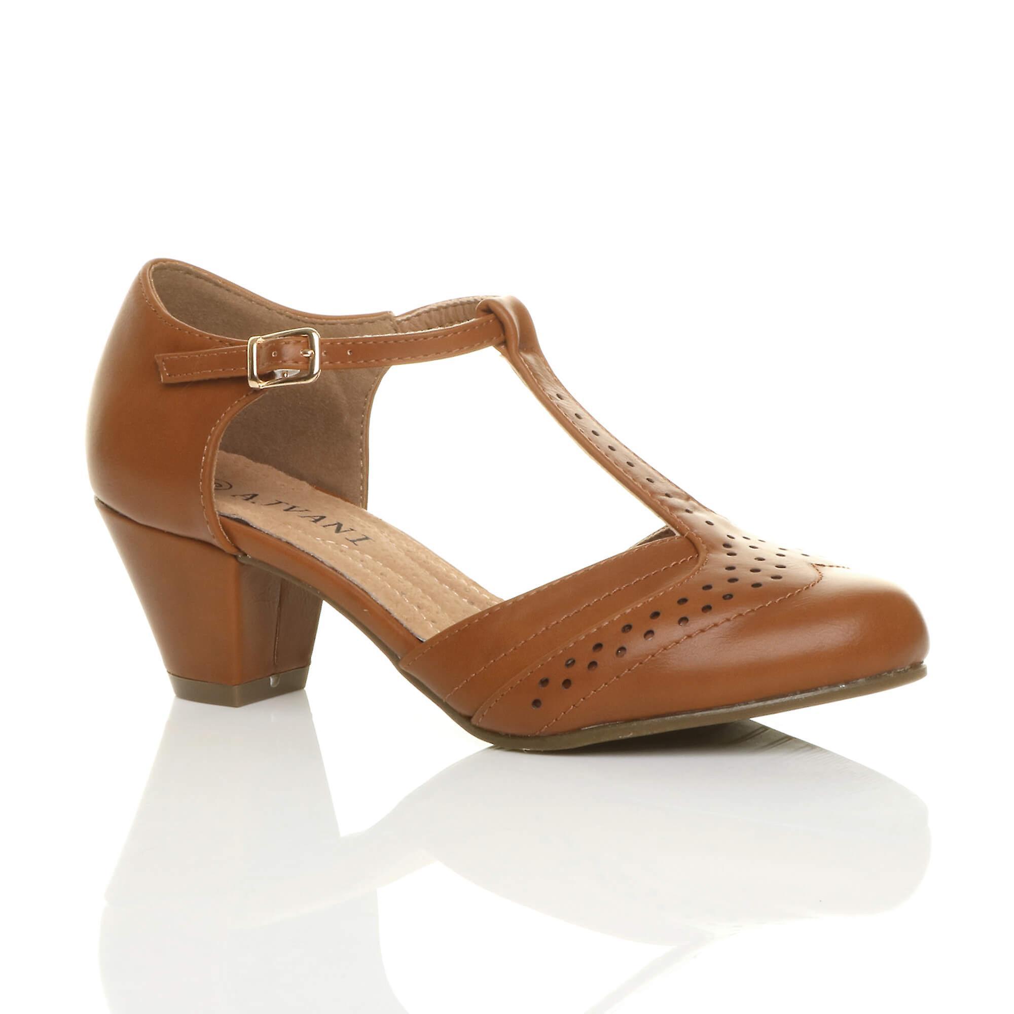 Buty damskie Ajvani połowie niski blok pięty t-bar brogsów komfort gumy wyłącznie sąd sandały uj0ck
