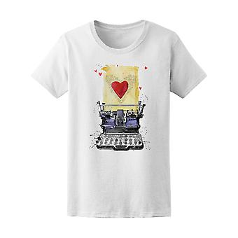 Typewriter Love Red Heart Tee Women's -Image by Shutterstock