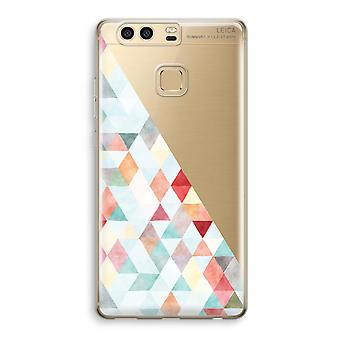 Huawei P9 gennemsigtig sag (Soft) - farvede trekanter pastel