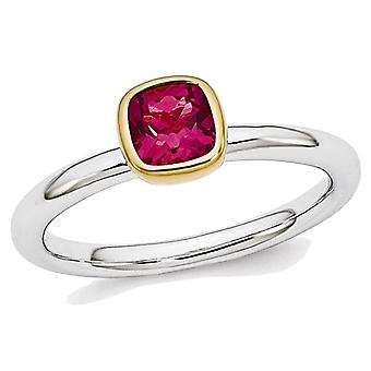 Lab Created Solitaire Ruby Ring 1/2 Carat (ctw) in Sterling Silver