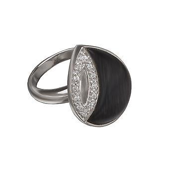 Orphelia Silver 925 Ring Zwart Cateye zirkonium ZR-3632