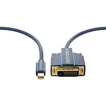 clicktronic DisplayPort / DVI Cable 3.00 m gold plated connectors, screwable Blue [1x Mini DisplayPort plug - 1x DVI plug 25-pin]