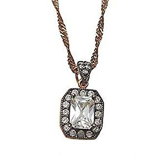 Antique rose gold plated necklace with a large crystal