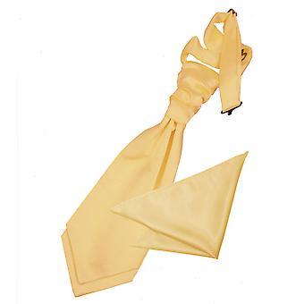 Pale Yellow Plain Satin Wedding Cravat & Pocket Square Set for Boys