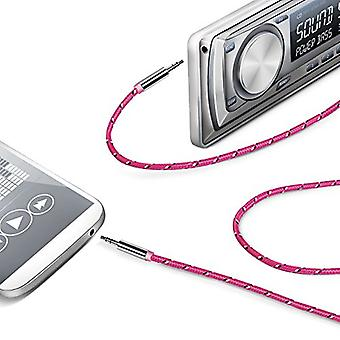 Celly Premium Textile Stereo Audio Auxiliary / Aux Cable 3.5mm - Pink