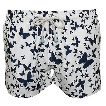 Oiler & Boiler Chevy Short Butterfly Print Swim Shorts, White/Navy