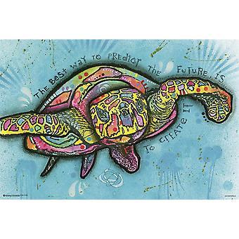 Dean Russo poster schildpad popart de beste manier aan het preken van de toekomst, is het creëren van het 61 x 91,5 cm