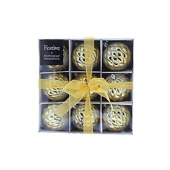 Festive Productions 9 Pack Christmas 80mm Ball Gold Shiny Shatterproof Baubles