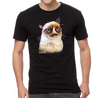 Zwart T-shirt van Grumpy Cat Tarder snor mannen