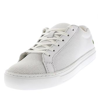 Womens Lacoste L12.12 2 weiße niedrige Spitze Lace Up Mode Casual Trainer