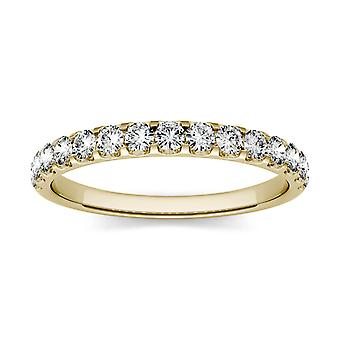 14K Yellow Gold 2.0mm Round Moissanite by Charles & Colvard Wedding Band, 0.45cttw DEW
