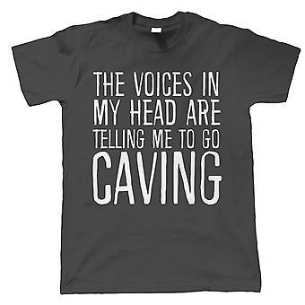 Röster i mitt huvud Caving, Mens Funny T Shirt - Gift Honom