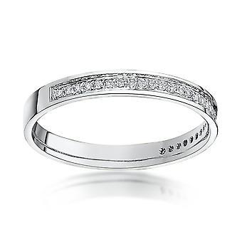 Stjerne vielsesringe 9kt hvidguld runde 0,15 Carat diamant evigheden 3mm vielsesring