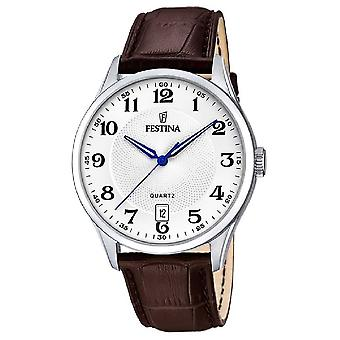 Festina Mens Stainless Steel   Brown Leather Strap   Silver Dial   F20426/1 Watch