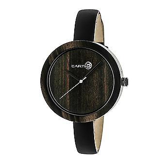 Earth Wood Yosemite Leather-Band Watch - Dark Brown