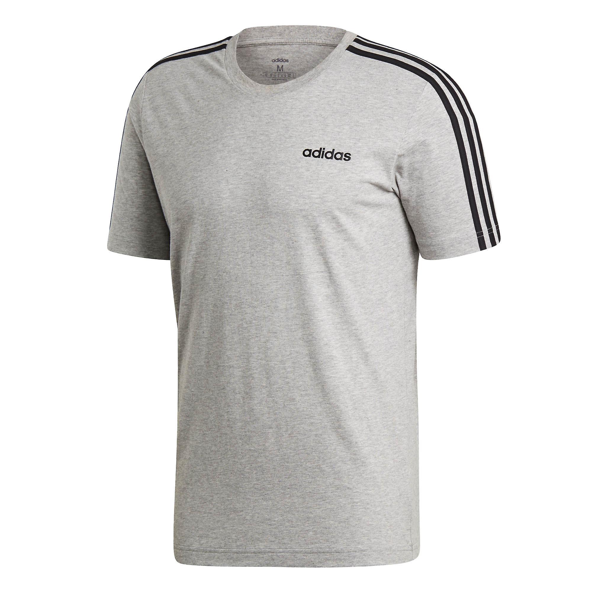 adidas Essential 3-Stripe Mens Cotton Sport Training T-Shirt Tee Grey/Black