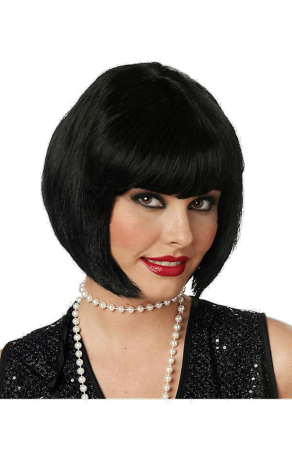 Womens 20s Flapper Black Wig Gangster Moll Film Fancy Dress Costume Accessory