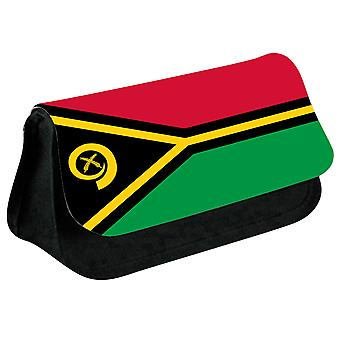 Vanuatu Flag Printed Design Pencil Case for Stationary/Cosmetic - 0191 (Black) by i-Tronixs