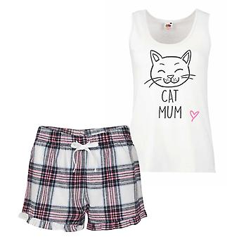 Mačka mamička Pink tartan pyžamo
