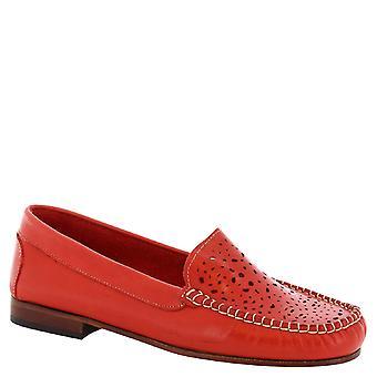 Leonardo Shoes Women's handmade loafers in openwork red calf leather