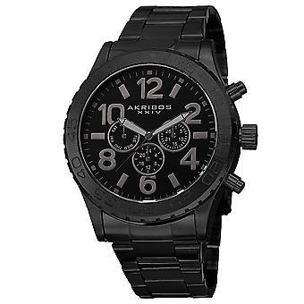 Akirbos XXIV AK763BK Men es Swiss Quartz Multifunktion Edelstahl Black Armband Watch