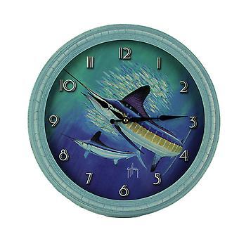 Guy Harvey Blue Marlin Beveled Framed Wall Clock 15 inch Diameter