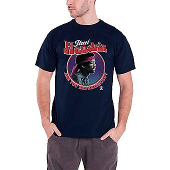 Jimi Hendrix T Shirt Are You Experienced Logo Official Mens New Navy Blue