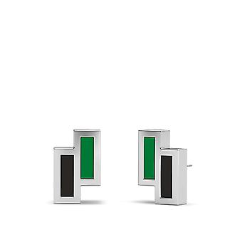 University Of North Texas Sterling Silver Asymmetric Enamel Stud Earrings In Green and Black