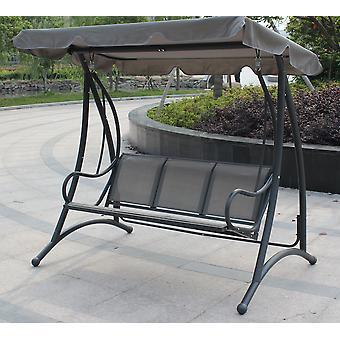 Charles Bentley 3 Seater Outdoor Swing Seat Bench Chair Hammock w/ Canopy -Grey