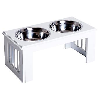 PawHut Stainless Steel Pet Feeding Bowl Raised Elevated Twin Dog Bowls Water Food Feeder 58.4L x 30.5W x 25.4H cm - White